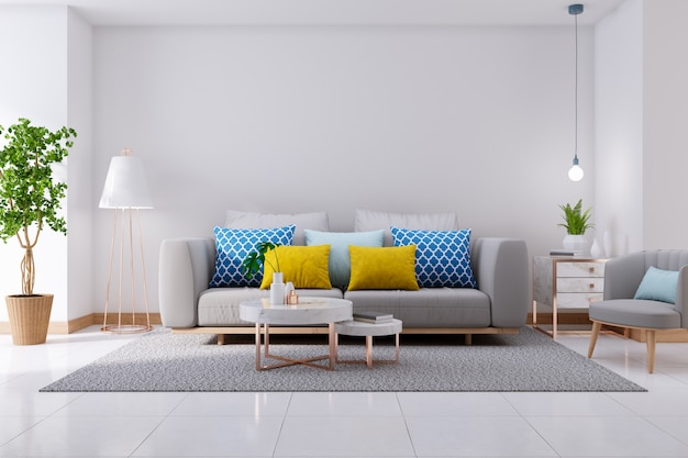 Luxurious modern interior of living room, gray sofa on white flooring and white wall,3d rendering