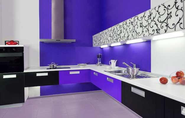 Роскошная новая синяя кухня с современной техникой