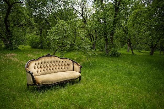야외 녹색 정원에서 맑은 잔디밭에 고급스러운 오래 된 벨벳 소파. 아무도.