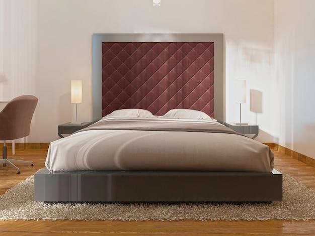 Роскошная одна двуспальная кровать в гостиничном номере в стиле ар-деко. большое мягкое изголовье и прикроватные тумбочки с настольными лампами. 3d визуализация.