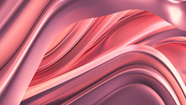 サテンのカーテンと豪華なピンクの背景。 3dレンダリング。