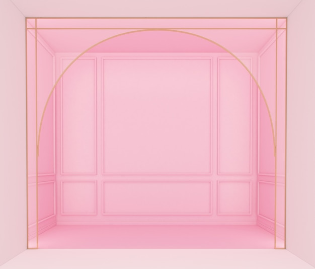 분홍색 벽 처마 장식 3d 렌더링이 있는 고급스러운 분홍색 빈 방