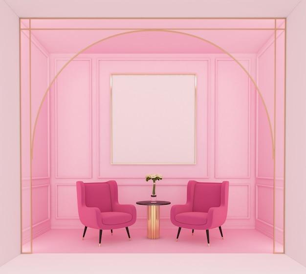 분홍색 안락의자와 밝은 분홍색 벽 처마 장식 3d 렌더링이 있는 고급스러운 분홍색 거실