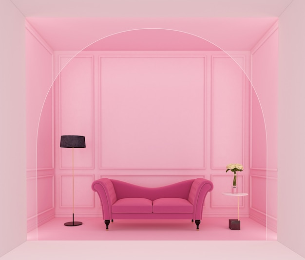 분홍색 소파와 밝은 분홍색 벽 처마 장식 3d 렌더링이 있는 고급스러운 분홍색 거실