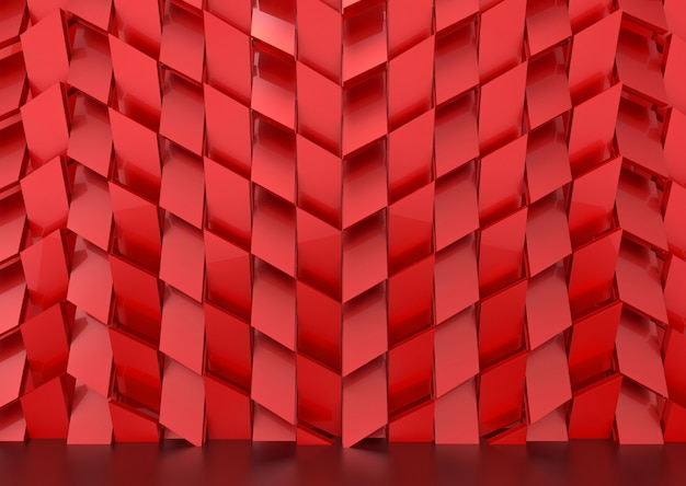 Luxurious red trapedzoid shape tile pattern wall background.