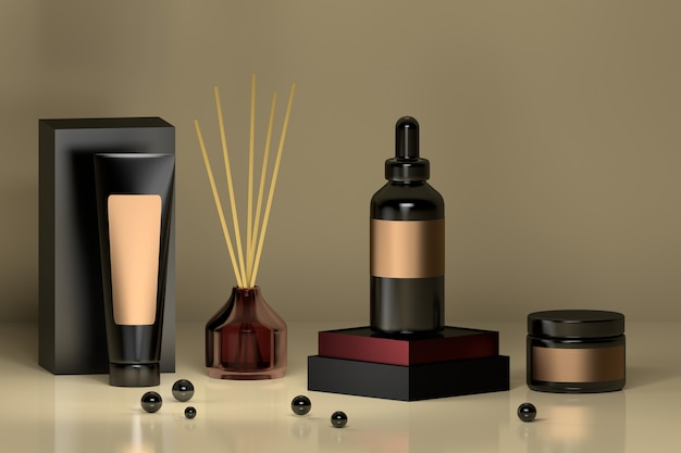 Luxurious set of cosmetic bottles in black and purple with glass home perfume diffuser and shiny black beads.