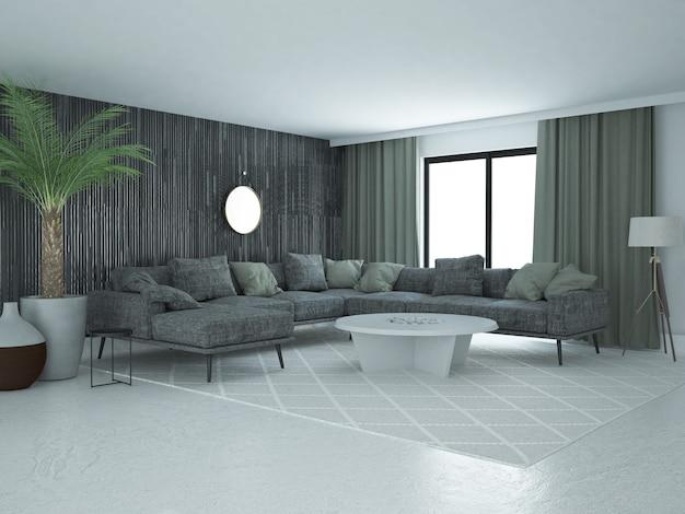 Роскошная просторная современная гостиная с декоративной черной стеной