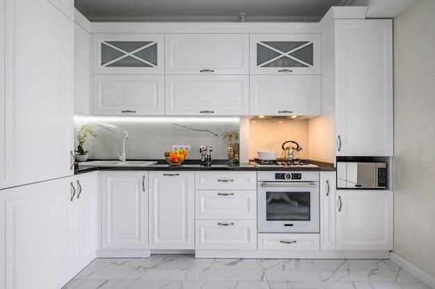 Luxurious white modern kitchen interior
