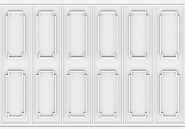 Luxurious white wood square shape pattern panel design wall background.