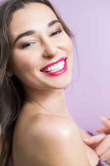 Luxurious woman with a beautiful smile and healthy white teeth.
