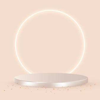 오렌지 배경의 로즈 골드 럭셔리 3d 제품 배경