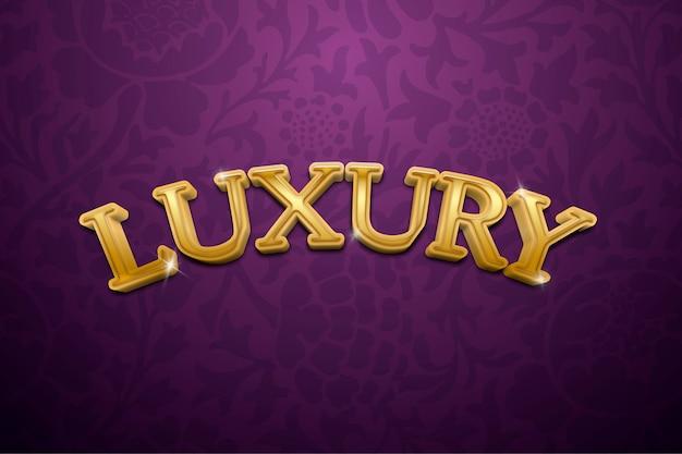 Testo 3d di lusso in illustrazione tipografica fantasia oro