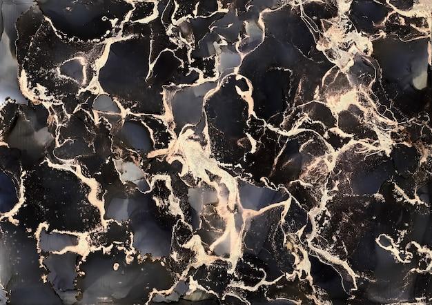 Роскошный абстрактный фон алкоголь чернила техника черный и золотой. живопись жидкого искусства. всплеск чернил спирта цвета воды, краска текстуры потока жидкости, картина изобразительного искусства цифровой бумаги, обои.