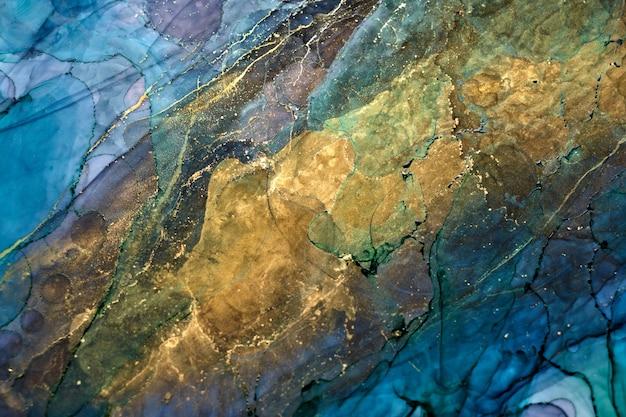 酒精墨水技术的奢华抽象背景,靛蓝金色液体绘画,分散的丙烯酸斑点和漩涡污渍,印刷材料