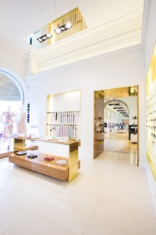 Luxury accessories and clothes store interior