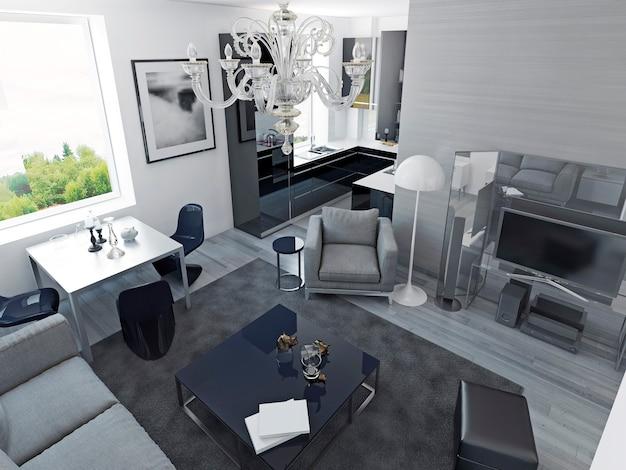 럭셔리 아파트 현대적인 스타일. 식당과 검은 색 주방, 값 비싼 미디어 센터가있는 거실 스튜디오. 3d 렌더링