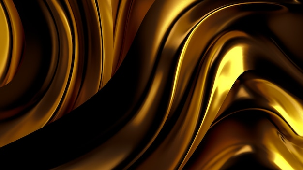 Luxury background with gold drapery fabric. 3d illustration, 3d rendering.
