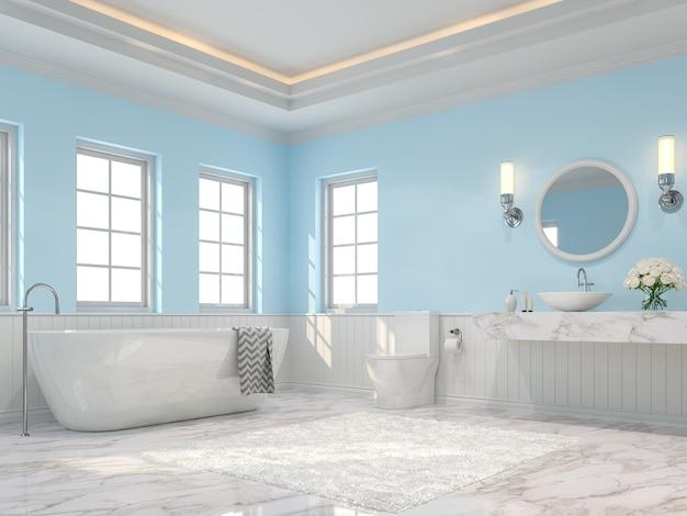 Роскошная ванная комната 3d визуализация белый мраморный пол голубые стены и потолок скрывают оранжевый свет