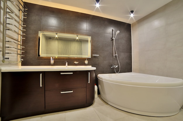 Luxury bathroom in the french style in the house. bathroom interior.