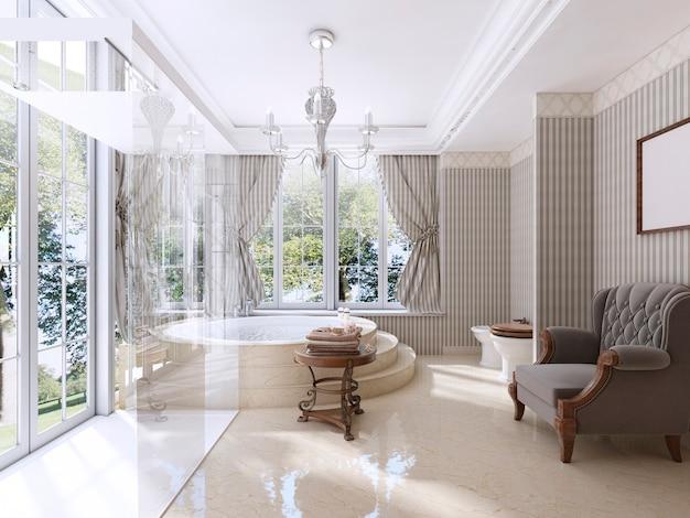 Роскошная ванная в классическом стиле. ванная комната с джакузи, душевой кабиной и мебелью для ванной. 3d визуализация.