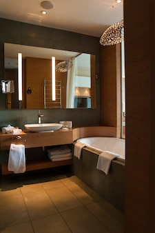 Luxury bathroom interior design for modern life style with window to bedroom