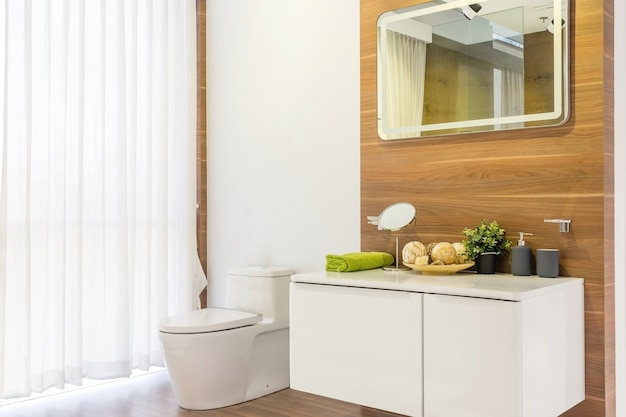 Luxury bathroom interior with toilet bowl