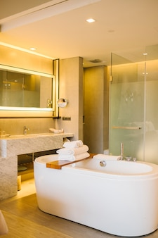 Luxury bathtub inside bedroom in hotel