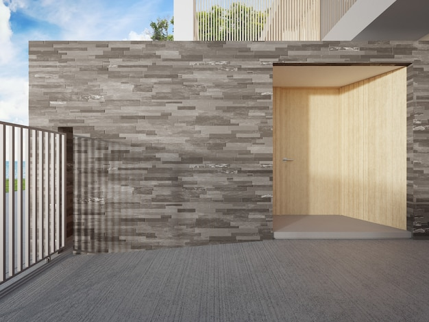 Роскошный пляжный домик с видом на море и деревянной входной дверью в современном дизайне