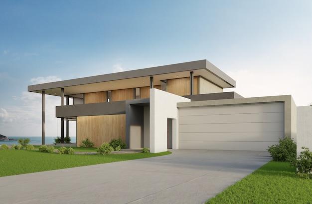 海の見えるスイミングプールとモダンなデザインの大きなガレージと豪華なビーチハウス。