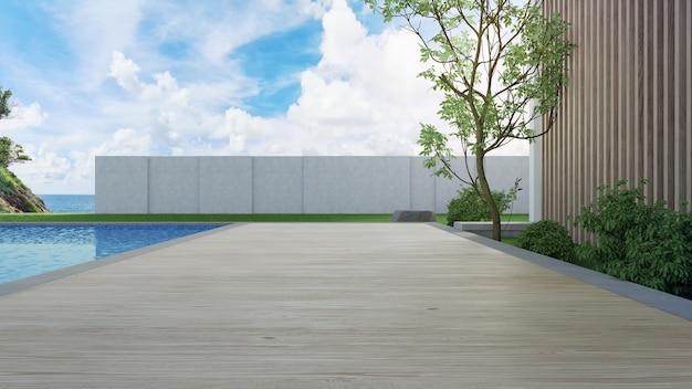 モダンなデザインの海の見えるスイミングプールとテラス付きの豪華なビーチハウス