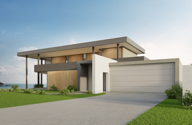 Luxury beach house with sea view swimming pool and big garage in modern design.