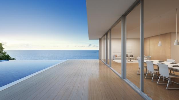 モダンなデザインの海の眺めのプールを備えた豪華なビーチハウス