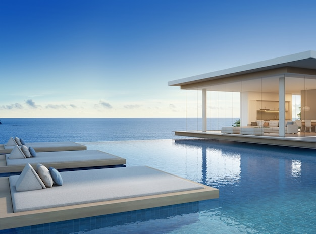 Luxury beach house with sea view swimming pool in modern design.
