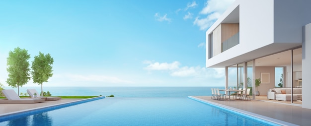 Luxury beach house with sea view swimming pool and terrace in modern design