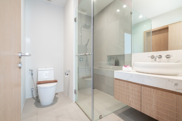 Luxury beautiful interior real bathroom features basin, toilet bowl