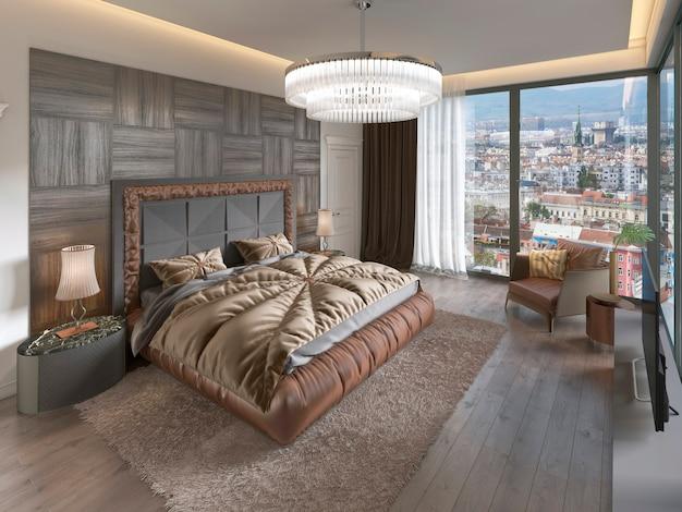 Роскошный интерьер спальни с тканевой кроватью, комодом и тумбочками. 3d рендеринг