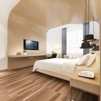 Luxury bedroom suite in hotel with tv and working table