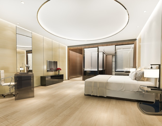 Luxury bedroom suite in hotel with working table near bathroom and round ceiling