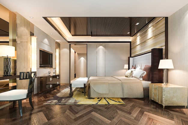 Luxury bedroom suite in hotel with working table near bathroom