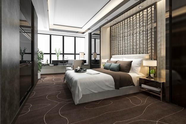 Tv와 작업대가있는 호텔의 고급 침실 스위트