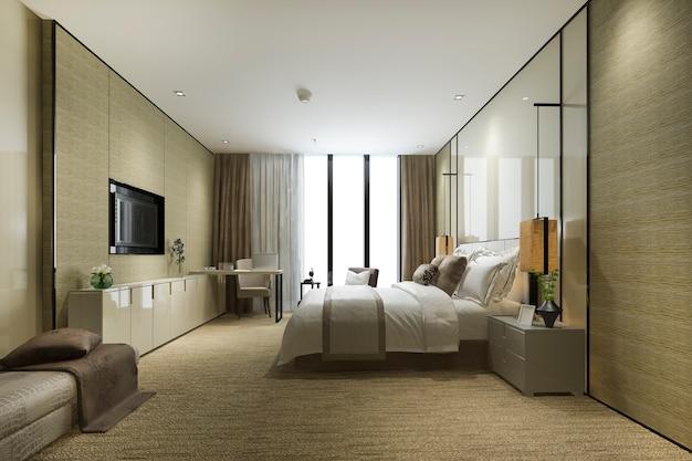 クッション付きのリゾート高層ホテルの豪華なベッドルームスイート