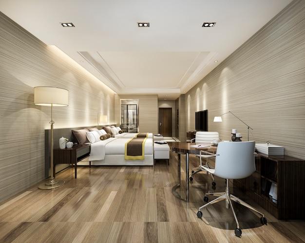 ツインベッド付きのリゾート高層ホテルの豪華なベッドルームスイート