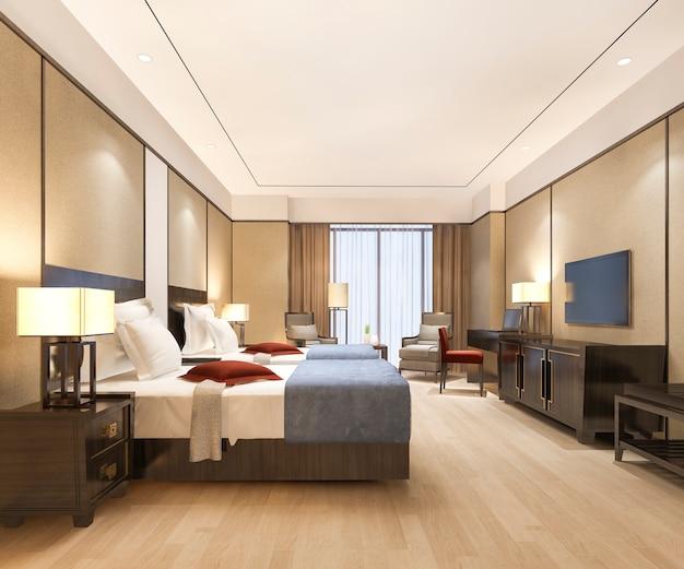 트윈 베드가있는 리조트 고층 호텔의 럭셔리 침실 스위트