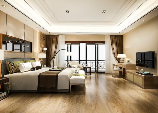 작업 테이블이있는 리조트 고층 호텔의 고급 침실 스위트
