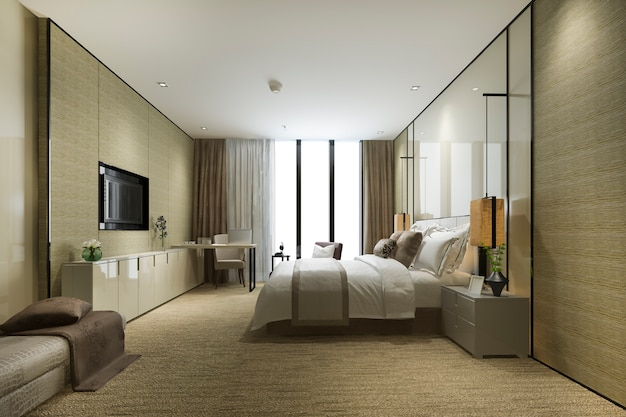 Luxury bedroom suite in resort high rise hotel with cushion