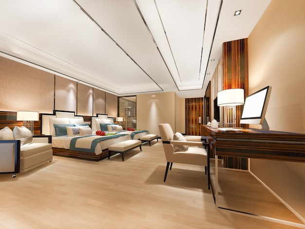 Luxury bedroom suite with working table and twin bed