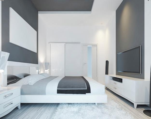 부드러운 회색과 흰색 색상의 현대적인 스타일의 침대가있는 고급 침실. 대형 슬라이딩 옷장 및 미디어 시스템. 벽 포스터 모형에. 3d 렌더링.