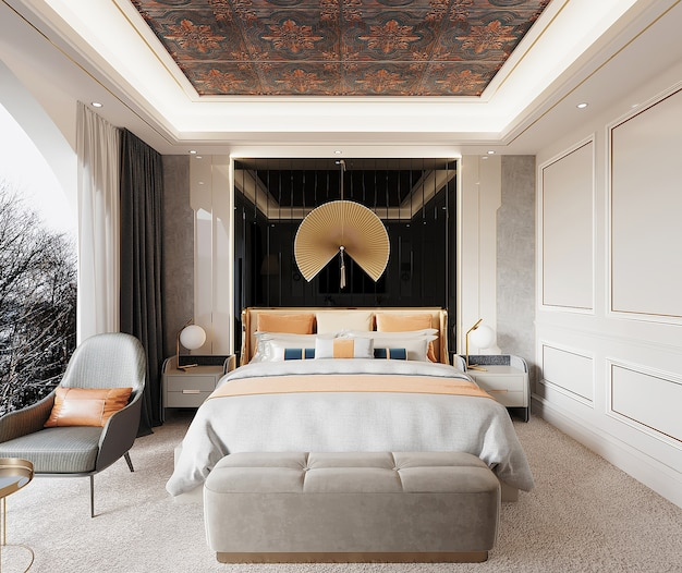 Luxury bedroom with bed and armchair