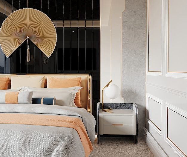 Luxury bedroom with bed and wall design