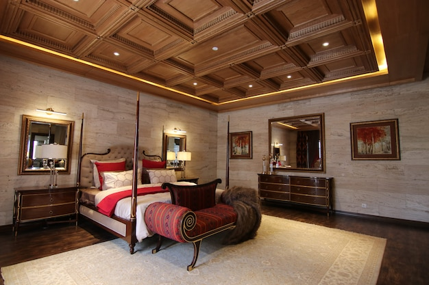 Luxury bedroom with classic interior design